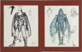 "Movie/TV Memorabilia:Costumes, Al Lehman Buck Rogers ""Hawk"" Character Design Art (c. 1980)set of 2.... (Total: 2 Items)"