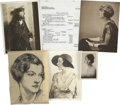 Movie/TV Memorabilia:Memorabilia, Alice Brady Original Charcoal Sketch, Four Still Photos, and 1938Income Tax Return.... (Total: 3 Items)