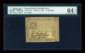 Colonial Notes:Pennsylvania, Pennsylvania October 1, 1773 2s PMG Choice Uncirculated 64 EPQ....