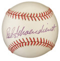 Autographs:Baseballs, Red Schoendienst Single Signed Baseball. The red-headed Hall ofFame superstar makes fine use of an ONL (White) ball, provi...