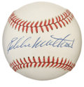Autographs:Baseballs, Eddie Mathews Single Signed Baseball. The Hall of Fame AtlantaBrave shared both a dugout and a key to the 500 Home Run Clu...