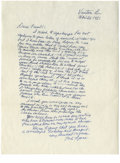 Autographs:Letters, 1981 Ted Lyons Signed Handwritten Letter. With an amazing 21-seasoncareer with the Chicago White Sox, the three-time 20 ga...