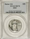 Modern Bullion Coins: , 2003 P$50 Half-Ounce Platinum Eagle MS70 PCGS. PCGS Population(69/0). Numismedia Wsl. Price for NGC/PC...