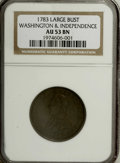 Colonials: , 1783 1C Washington & Independence Cent, Large Military BustAU53 NGC. Baker-4, R.1. Struck with the usually seen coin-turn ...