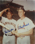 "Autographs:Photos, Willie Mays & Stan Musial Signed Photograph. Color 8x10"" photo signed by both in bold blue sharpie. LOA from PSA/DNA...."