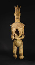 African: , Urhobo (Nigeria). Mother and Child Shrine Figure. Wood, pigment. Height: 60 inches Width: 15 ½ inches Depth: 15 inches. ...