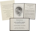 Autographs:U.S. Presidents, [John F. Kennedy] Memorial Service Invitation. ... (Total: 4 Items)