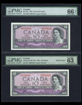 Canadian Currency: , BC-32a $10 1954 Devil's Face Two Examples.. ... (Total: 2 notes)
