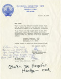 Movie/TV Memorabilia:Autographs and Signed Items, Glenn Ford's Letter from 1973 Inaugural Committee....
