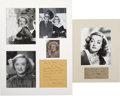 Movie/TV Memorabilia:Autographs and Signed Items, Bette Davis Autographed Photos....