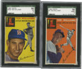 Baseball Cards:Lots, 1954 Topps Ted Williams SGC Graded Group Lot of 2.... (Total: 2cards)