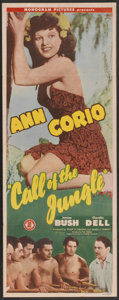 "Movie Posters:Adventure, Call of the Jungle (Monogram, 1944). Insert (14"" X 36"").Adventure...."
