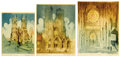 Fine Art - Work on Paper:Print, JOSEF PIERRE NUYTTENS (American, 1885-1960). Rheims Cathedral, Westminster Abbey, London, and The Rose Window - Rheims... (Total: 3 Items)
