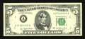 Error Notes:Ink Smears, Fr. 1974-A $5 1977 Federal Reserve Note. Extremely Fine- AboutUncirculated.. ...