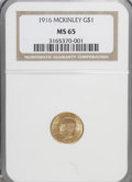 Commemorative Gold: , 1916 G$1 McKinley MS65 NGC. NGC Census: (422/385). PCGS Population(905/637). Mintage: 9,977. Numismedia Wsl. Price for NGC...