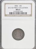 Early Dimes, 1802 10C MS61 NGC. Ex:ED Price Collection. JR-2. NGC Census: (3/2).PCGS Population (0/3). Mintage: 10,975. Numismedia ...