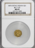 California Fractional Gold: , 1875 $1 Indian Octagonal 1 Dollar, BG-1125, Low R.5, MS63 NGC. NGCCensus: (1/0). PCGS Population (5/15). (#10936)...