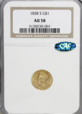 Gold Dollars: , 1858-S G$1 AU58 NGC. CAC. NGC Census: (36/10). PCGS Population(12/10). Mintage: 10,000. Numismedia Wsl. Price for NGC/PCGS...