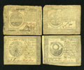 Colonial Notes:Continental Congress Issues, Four Circulated Continentals.... (Total: 4 notes)