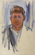 Fine Art - Painting, American:Contemporary   (1950 to present)  , ELAINE DE KOONING (American, 1919-1989). Study of John F.Kennedy, 1963. Oil on canvas. 42 x 26-1/2 inches (106.7 x67.3...