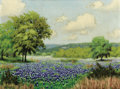 Texas:Early Texas Art - Impressionists, ROBERT WILLIAM WOOD (American, 1889-1979). Untitled (Field ofBluebonnets). Oil on canvas laid on board. 12 x 16 inches ...