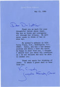 Autographs:U.S. Presidents, Jacqueline Kennedy Typed Letter Signed...