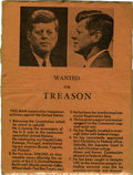 "Autographs:U.S. Presidents, [John F. Kennedy] ""Wanted for Treason"" Handbill...."