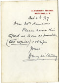 Autographs:Non-American, Henry Morton Stanley Autograph Note Signed....