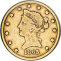 Liberty Eagles, 1865-S $10 865 Over Inverted 186 VG10 PCGS....