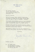 Autographs:U.S. Presidents, Jacqueline Kennedy Typed Letter Signed. ...