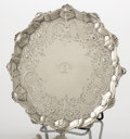 Silver Holloware, British:Holloware, A GEORGE III SILVER SALVER. Ebenezer Coker, London, England, circa1764-1765. Marks: (lion passant), (leopard's head crowned...