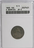 Early Dimes: , 1805 10C 4 Berries G4 ANACS. JR-2. NGC Census: (2/226). PCGSPopulation (17/271). Mintage: 120,780. Numismedia Wsl. Price ...