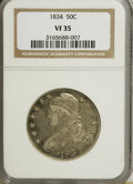 Bust Half Dollars: , 1834 50C Large Date, Small Letters VF35 NGC. PCGS Population(10/249). Mintage: 6,412,004. Numismedia Wsl. Price for NGC/PC...