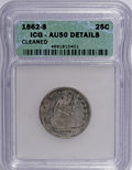 Seated Quarters: , 1862-S 25C --Cleaned--ICG. AU50 Details. NGC Census: (0/23). PCGSPopulation (1/19). Mintage: 67,000. Numismedia Wsl. Price ...