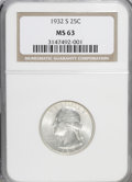 Washington Quarters: , 1932-S 25C MS63 NGC. PCGS Population (845/1010). Mintage: 408,000.Numismedia Wsl. Price for NGC/PCGS co...