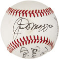 Autographs:Baseballs, 1980's Joe DiMaggio, Mickey Mantle & Roger Maris Signed Baseball....