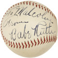 Autographs:Baseballs, Late 1930's Babe Ruth Single Signed Baseball, PSA NM-MT+ 8.5....