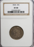 Bust Quarters: , 1834 25C XF40 NGC. NGC Census: (19/287). PCGS Population (40/280). Mintage: 286,000. Numismedia Wsl. Price for NGC/PCGS coi...