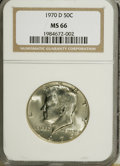 Kennedy Half Dollars: , 1970-D 50C MS66 NGC. NGC Census: (97/5). PCGS Population (198/2).Mintage: 2,150,000. Numismedia Wsl. Price for NGC/PCGS co...