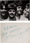 Music Memorabilia:Autographs and Signed Items, Beatles Promo Card Autographed by John Lennon....