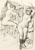 Fine Art - Work on Paper, BORIS GRIGORIEV (Russian, 1886-1939). Prostitutes. Graphiteon paper. 13 x 9-1/4 inches (33.0 x 23.5 cm). Signed lower r...