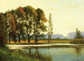 Fine Art - Painting, Russian, MIKHAIL MARKELOVICH GUZHAVIN (Russian, 1888-1929). Spring Landscape by Lake. Oil on canvas. 17-3/4 x 27 inches (45.1 x 6...