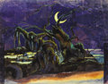 Fine Art - Painting, Russian:Modern (1900-1949), PETR SAVVICH UTKIN (Russian, 1877-1934). Nightscape with Twisted Tree. Mixed media on paper. 11-1/4 x 14-1/4 inches (28....
