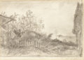 Fine Art - Painting, Russian, PETR SAVVICH UTKIN (Russian, 1877-1934). Landscape Study. Graphite on paper. 11 x 17-1/2 inches (27.9 x 44.5 cm). Signed...