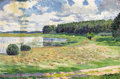 Fine Art - Painting, Russian, MIKHAIL IVANOVITCH SOLOMONOV (Russian, 1879-1942). SpringLandscape with Pond, 1924. Oil on paper laid on board. 11 x16...