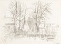 Fine Art - Work on Paper, MIKHAIL MARKELOVICH GUZHAVIN (Russian, 1888-1929). Autumn Alley, 1920s. Graphite on paper. 10-1/4 x 14 inches (26.0 x 35...
