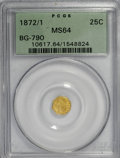 California Fractional Gold: , 1872/1 25C Indian Octagonal 25 Cents, BG-790, R.3, MS64 PCGS. PCGSPopulation (45/32). NGC Census: (7/7). (#10617). Fro...