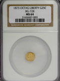 California Fractional Gold: , 1873 25C Liberty Octagonal 25 Cents, BG-728, R.3, MS64 NGC. NGCCensus: (2/9). PCGS Population (46/64). (#10555)...