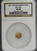 California Fractional Gold: , 1871 25C Liberty Octagonal 25 Cents, BG-764, Low R.6, AU58 NGC. NGCCensus: (1/0). PCGS Population (0/12). (#10591). Fr...