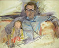 Fine Art - Painting, American:Contemporary   (1950 to present)  , ELAINE DE KOONING (American, 1919-1989). Untitled (Portrait of aMan and Child). Oil on canvas. 48 x 59 inches (121.9 x ...
